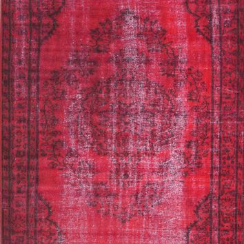 nuLOOM Red Vintage Inspired Overdyed DIRE1E Area Rug