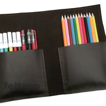 Leather Pencil Pouch, Pen Case, Pencil Holder, Pencil Organizer, Brown, Black or Camel  Full Grain Leather, Hand Stitched