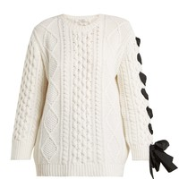 Laced cable-knit wool sweater | Valentino | MATCHESFASHION.COM UK