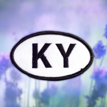 "Kentucky KY Patch - Iron or Sew On - 2"" x 3.5"" - Embroidered Oval Appliqué - Bluegrass State - Black White Hat Bag Accessory Handmade USA"