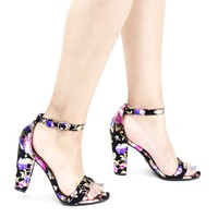 Frenzy41 Block floral by Bella Luna, Metallic Floral Ankle Wrap Sandal On High Block Heel