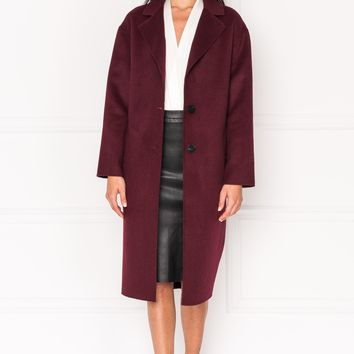 LAMARQUE -  COPPOLA Burgundy Oversized Cocoon Wool Coat