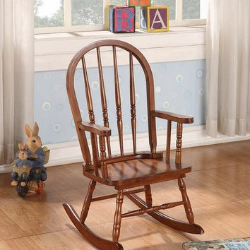 Kloris collection arch top spindle back tobacco finish wood children's size rocking chair