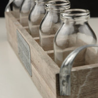 Petites Fleur  Long Wood Crate with 5 glass milk bottles $9.99  each/ 3  for $9  each