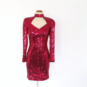 Vintage 1980s Hot Pink Sequin Bodycon Dress Madonna Punk Prom Dress Party Cocktail Dress Backless Short Dress Bridesmaid Punk Rocker