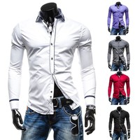 Men Casual Long Sleeve Men's Fashion Shirt [6541453059]