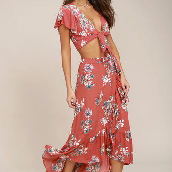 Among the Flowers Rusty Rose Floral Print Two-Piece Dress