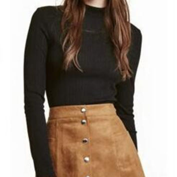Single-Breasted Suede High Waist  Skirt B0013810