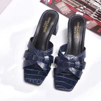 YSL Yves Saint laurent Women Fashion Casual Low Heeled Shoes Slipper Shoes-5