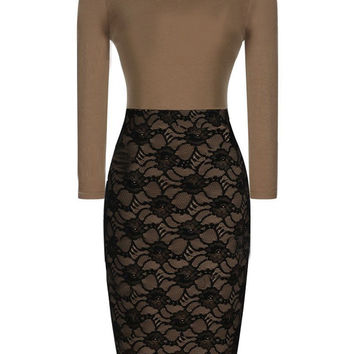 Brown and Black Lace Long Sleeve Pencil Bodycon Midi Dress