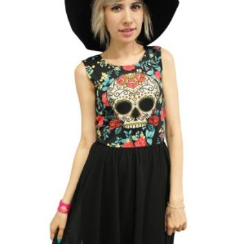 Women's Sugar Skull Chiffon Cocktail Dress