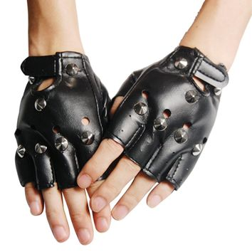 Unisex Cool BLACK Punk Rock Studded LEATHER LOOK FINGERLESS GLOVES