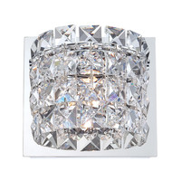 Rondell 1 Light Vanity In Chrome And Clear Crystal Glass