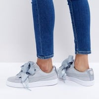 Puma Basket Heart Trainers With Metallic Trim In Grey at asos.com