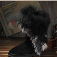Free shipping 2013 winter warm high long snow boots artificial fox rabbit fur leather tassel women's shoes winter boots-in Boots from Shoes on Aliexpress.com