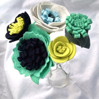 Blue/green modern wildflower bouquet, floral stems, wool felt flower, bouquet arrangement, cottage chic,  floral table decor