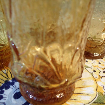 Anchor Hocking Rainflower glasses in Amber. Set of 4  12 oz water glasses, tumblers