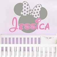 Name Wall Decal Minnie Mouse Head Ears Bow Disney Personalized Vinyl Decals Sticker Custom Decals Personalized Baby Girl Name Decor Bedroom Nursery Baby Room Decor ZX265