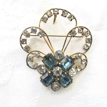 Gold Filled Rhinestone Brooch, Fleur Di Lis Pendant Pin, Vintage Costume Jewelry