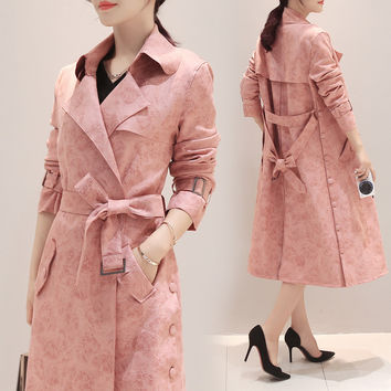 Retro Pink Trench Suede Fabric Maternity Coat