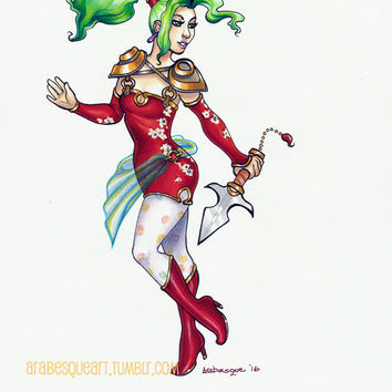 Terra - Original 8.5x11 Art in Copic Marker, Prismacolor Pencil and Ink on White Cardstock - Final Fantasy 6 Fanart FF6 Mixed Media Drawing