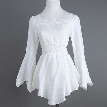 European White Cotton&Lace Long Sleeves Sexy Gothic Style Blouse Shirt Steampunk Corset Burlesque Costumes Accessories Plus Siz