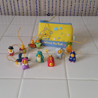 WINNIE THE POOH Vintage Coin Purse Miniature Fruit Charm KeyChain Fob Clip On McDonalds Happy Meal Toys Rare Vintage Lot 90s Disney