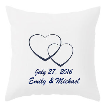 Custom Decorative Throw Pillow - 4 different sizes, Indoors, Outdoors, Initials, Names, Date, Classic, White, Custom, Save The Date