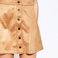 Glamorous | Glamorous A Line Button Front Faux Suede Mini Skirt at ASOS