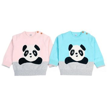Baby Girls Sweaters Autumn Warm Pullovers Newborn Clothing Outfits Kids Knitted Cartoon Panda Sweater Winter Baby Boy Clothes