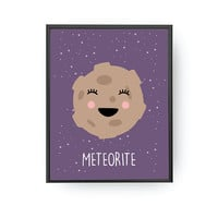 Meteorite Poster, Classroom Decor, Nursery Print, Solar System, Children's Learning, Space Art, Typography Poster, Kids Decor, Nursery Space