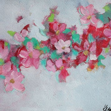 """Pink Floral Painting on Paper, Small Abstract Flowers Acrylics, Original, Loose, Colorful, """"Cherry Blossoms 2"""""""