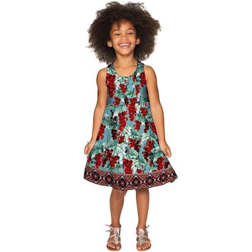 Toscana Sanibel Green & Red Pattern Empire Dress - Girls