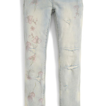 Flower Print Boyfriend Jeans (Big Girls)