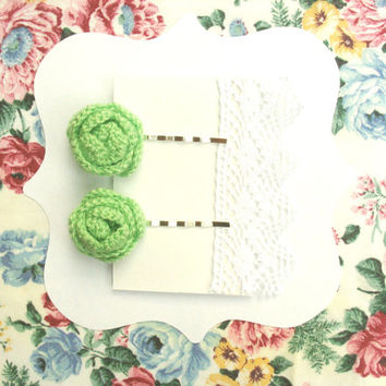 Apple Green Flower Bobby Pins, Hair accessories, Spring Green hair clips, crochet flowers,  Set of Two  flower clips made by VeraJayne