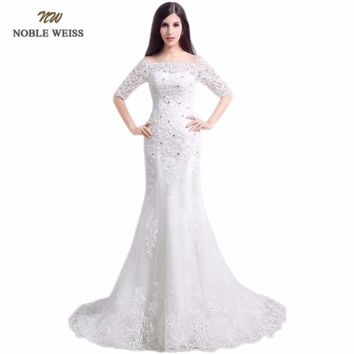 NOBLE WEISS In Stock Boat Neck Lace Beading Lace-up Back Mermaid Sweep Train Wedding Dresses With Half Sleeves Bridal Dress