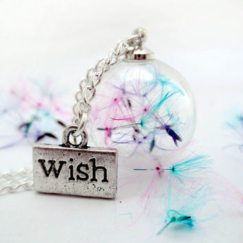 Rainbow dandelion necklace: glass orb green blue purple pink  seeds magic make a wish