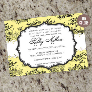 CHIC TOILE Baby Shower Invitation with lace - any color - Printable Design