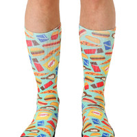 Pixelated Munchies Green Sport Socks