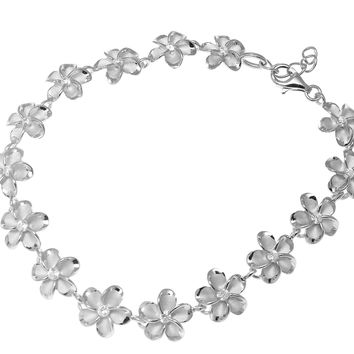 10MM SILVER 925 HAWAIIAN FANCY PLUMERIA FLOWER ANKLET RHODIUM