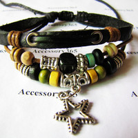 Men or Women Leather Bracelet with Bead Wristband by braceletcool
