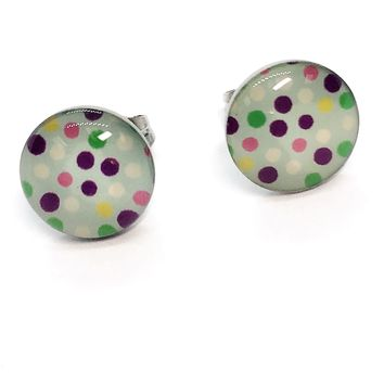 ON SALE - Pastel Polka Dots Enamel Button Stud Earrings
