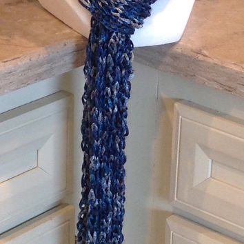 Blue And Gray Knitted Holiday Spring Fashion Scarf