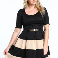 Plus Size Color Block Short Sleeves Pleated Mini Dress