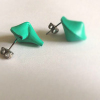 Teal Fortune Cookie Post Earrings by LosDiasDeRamen on Etsy
