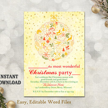 Christmas Party Invitation Card, Printable Holiday Card Template Holiday Party Card Rustic Christmas Card Editable Stars Gold Red DIY - CH5