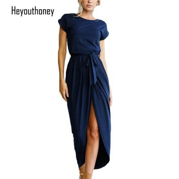 New Women short sleeve O-Neck solid color tunic Maxi Dresses Split Long Summer Plus Size Dress Party vestido de verano
