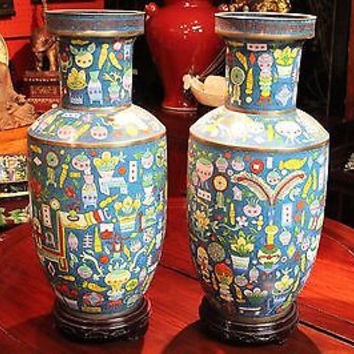 Beautiful 1950s Chinese Pair Blue Cloisonne Copper Enamel Vase with Stand