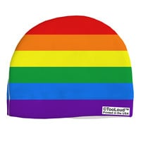 Rainbow Horizontal Gay Pride Flag Adult Fleece Beanie Cap Hat All Over Print by