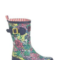 "Women's Joules Mid Height Print Welly Rain Boot, 1"" heel"